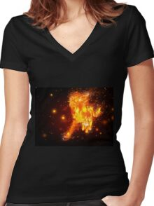 Fire horse Women's Fitted V-Neck T-Shirt