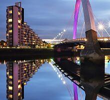 Glasgow Clyde Arc Bridge Reflections by Maria Gaellman
