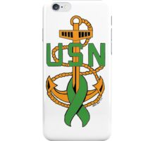 ALL-GREEN CPO Insignia with Mental Illness Awareness Ribbon iPhone Case/Skin
