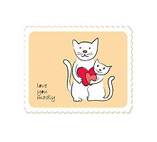 Two lovely cats vintage design Photographic Print