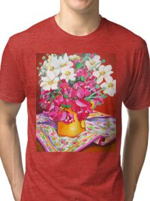Yellow Jug with Bougainvillia Tri-blend T-Shirt