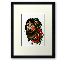 traditional bearded lady Framed Print
