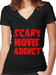 SCARY MOVIE ADDICT Women's Fitted V-Neck T-Shirt