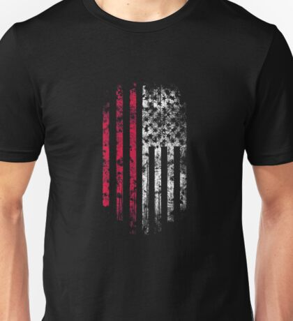 Poland and America Flag Combo Distressed Design Unisex T-Shirt