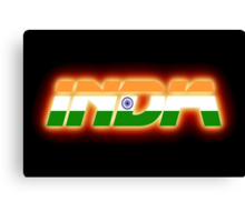 India - Indian Flag Logo - Glowing Canvas Print