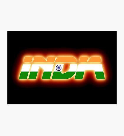 India - Indian Flag Logo - Glowing Photographic Print