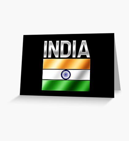 India - Indian Flag & Text - Metallic Greeting Card