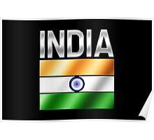 India - Indian Flag & Text - Metallic Poster