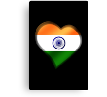 Indian Flag - India - Heart Canvas Print