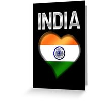 India - Indian Flag Heart & Text - Metallic Greeting Card
