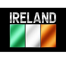 Ireland - Irish Flag & Text - Metallic Photographic Print