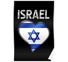 Israel - Israeli Flag Heart & Text - Metallic Poster