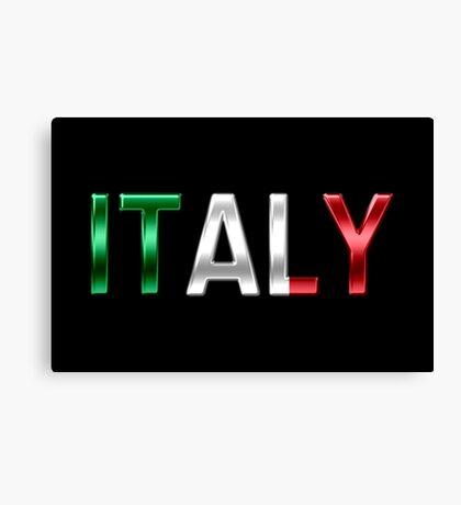 Italy - Italian Flag - Metallic Text Canvas Print