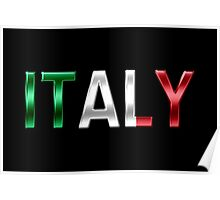 Italy - Italian Flag - Metallic Text Poster