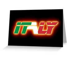 Italy - Flag Logo - Glowing Greeting Card