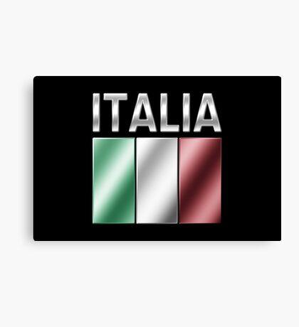 Italia - Italian Flag & Text - Metallic Canvas Print