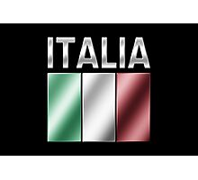 Italia - Italian Flag & Text - Metallic Photographic Print