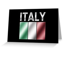 Italy - Italian Flag & Text - Metallic Greeting Card