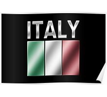 Italy - Italian Flag & Text - Metallic Poster