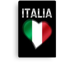 Italia - Italian Flag Heart & Text - Metallic Canvas Print