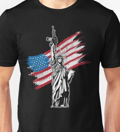 Never Disarm America Liberty Gun T-Shirt Right To Bear Arms USA Flag Tee Unisex T-Shirt