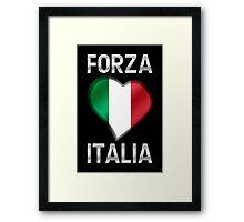 Forza Italia - Italian Flag Heart & Text - Metallic Framed Print