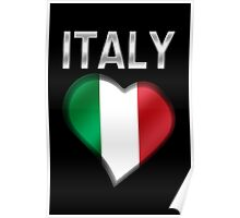 Italy - Italian Flag Heart & Text - Metallic Poster