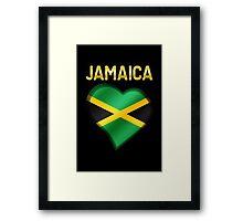Jamaica - Jamaican Flag Heart & Text - Metallic Framed Print