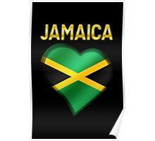Jamaica - Jamaican Flag Heart & Text - Metallic Poster