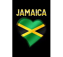 Jamaica - Jamaican Flag Heart & Text - Metallic Photographic Print