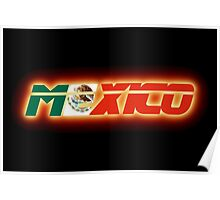 Mexico - Mexican Flag Logo - Glowing Poster