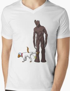 Groot -v- Cosmo Mens V-Neck T-Shirt
