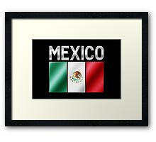 Mexico - Mexican Flag & Text - Metallic Framed Print