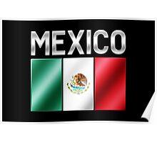 Mexico - Mexican Flag & Text - Metallic Poster