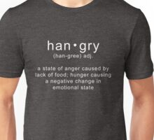 Hangry Meaning Funny Definition Angry Sarcastic Quote Unisex T-Shirt