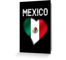 Mexico - Mexican Flag Heart & Text - Metallic Greeting Card