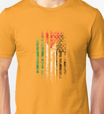 Palestine and America Flag Combo Distressed Design Unisex T-Shirt