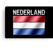 Nederland - Dutch Flag & Text - Metallic Canvas Print