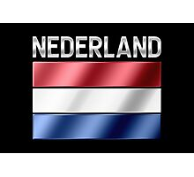 Nederland - Dutch Flag & Text - Metallic Photographic Print