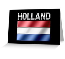 Holland - Dutch Flag & Text - Metallic Greeting Card