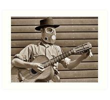 Futuristic cowboy with guitar #5 Art Print
