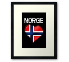 Norge - Norwegian Flag Heart & Text - Metallic Framed Print