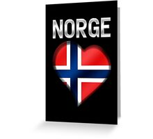 Norge - Norwegian Flag Heart & Text - Metallic Greeting Card