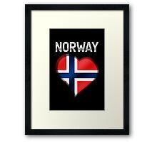 Norway - Norwegian Flag Heart & Text - Metallic Framed Print