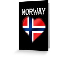 Norway - Norwegian Flag Heart & Text - Metallic Greeting Card
