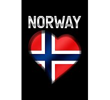 Norway - Norwegian Flag Heart & Text - Metallic Photographic Print