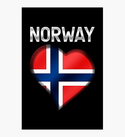 Norway - Norwegian Flag Heart & Text - Metallic Photographic Print