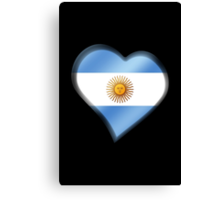 Argentine Flag - Argentina - Heart Canvas Print