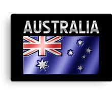 Australia - Australian Flag & Text - Metallic Canvas Print