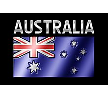 Australia - Australian Flag & Text - Metallic Photographic Print